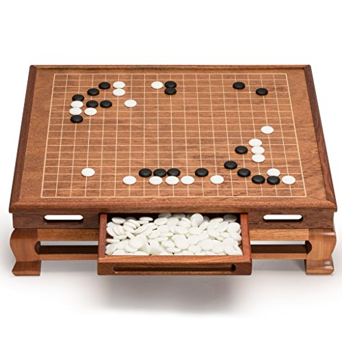 Yellow Mountain Imports Go Game Set with Go Floor Board (0.4 Inch Thick Rosewood) and Single Convex Yunzi Stones