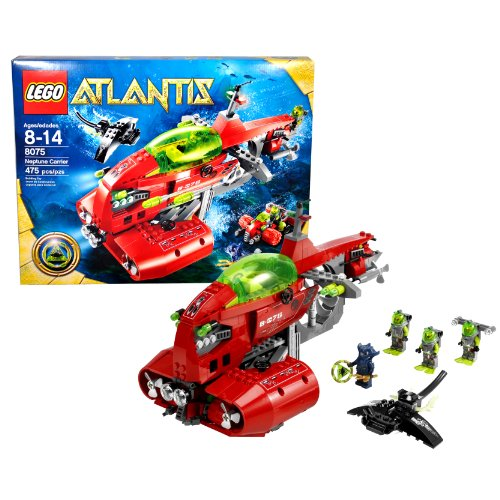 Lego Year 2009 Atlantis Series Vehicle Set #8075 - NEPTUNE CARRIER with Four Flick-Launching Torpedoes, Scout Mini-Sub, Seabed Rover, Green Atlantis Treasure Key, Stingray, Manta Warrior Minifigure Plus 3 Diver Minifigures (Total Pieces: 475)