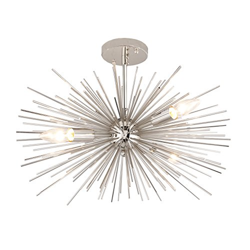 20 Inch Astra Sputnik Zanadoo Semi Flush Mount Lamp Nickel Spike Starburst Light Mid Century - Contemporary Deluxe Lighting Fixture