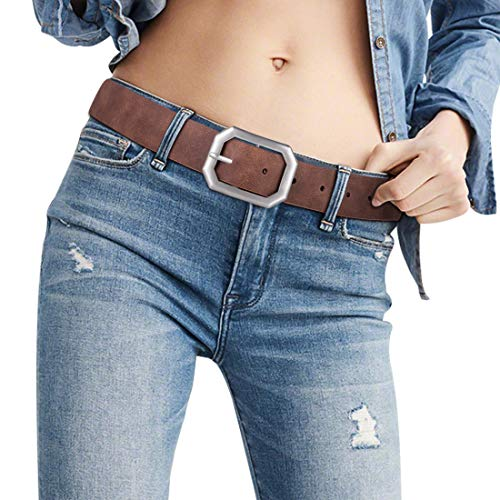Female Leather Womans Designer Formal Belt Reversible Brown Reversible Belts for Women Waist Silver Prop Buckle Jeans Dress Girl Silver No Nickel Alloy Buckle