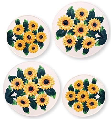 Country Sunflower Collection, Hand Painted Ceramic Stove Covers, 83055 By ACK