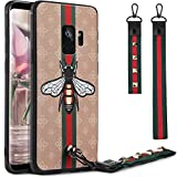 Galaxy S9 Case, S9 3D Case, Dairnim Ultra-Slim Non-Slip 3D Bees Pattern Relief Soft TPU (Long Short Lanyard) Vintage Retro Phone Case Compatible with Samsung Galaxy S9 5.8', Khaki