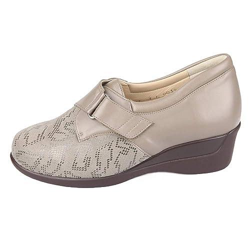 Zapato Mujer Ancho Especial con Plantillas extraibles Color Crema Cierre con Velcro para pies delicados (