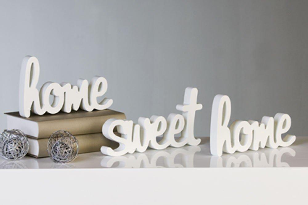 Amazonde Schriftzug Home Sweet Aus Holz Weiss 3tlg Set 22x12x2 Cm
