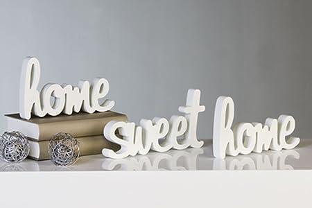 Trazo HOME SWEET HOME, Set de 3 Piezas, Madera, Blanco