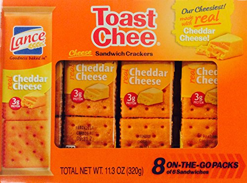 Lance Toast Chee Cheddar Cheese Sandwich Crackers 8 On-The-Go Packs of 6 Sandwiches 11.3 oz (Pack of 3)