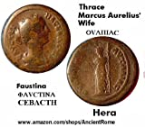 ANCIENT COIN HOUSE: FAUSTINA. HYGIEIA holding SERPENT. Medicine Goddess. Thrace. Greek Coin.