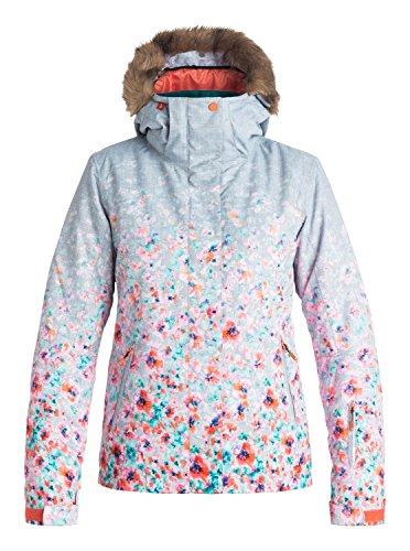 Roxy SNOW Women's Jet Ski Printed Slim Fit Jacket, Gradient Flowers, L