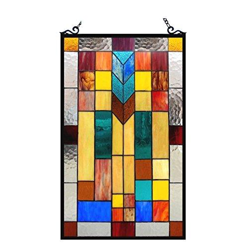 Chloe Lighting 16x26 Tate Tiffany-Glass Mosaic Design Window ()
