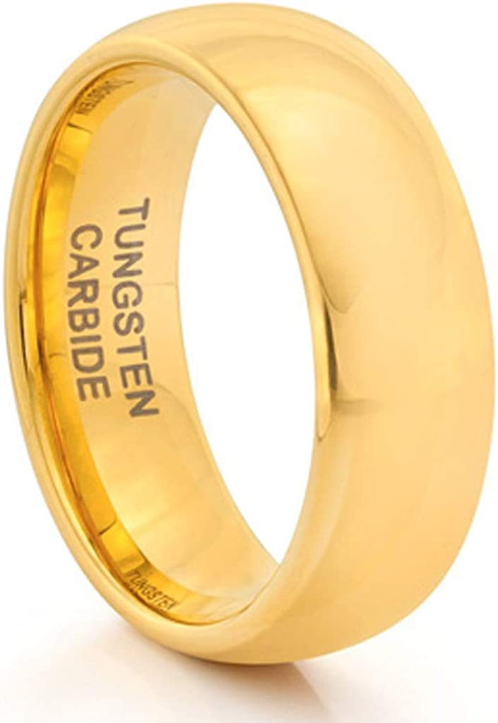 Available Sizes 7-14 Including Half Sizes TungstenMasters Roberto Ferrini Design 8MM Tungsten Carbide Mens Classic Styled Polished Gold Plated Comfort Fit Wedding Band Ring