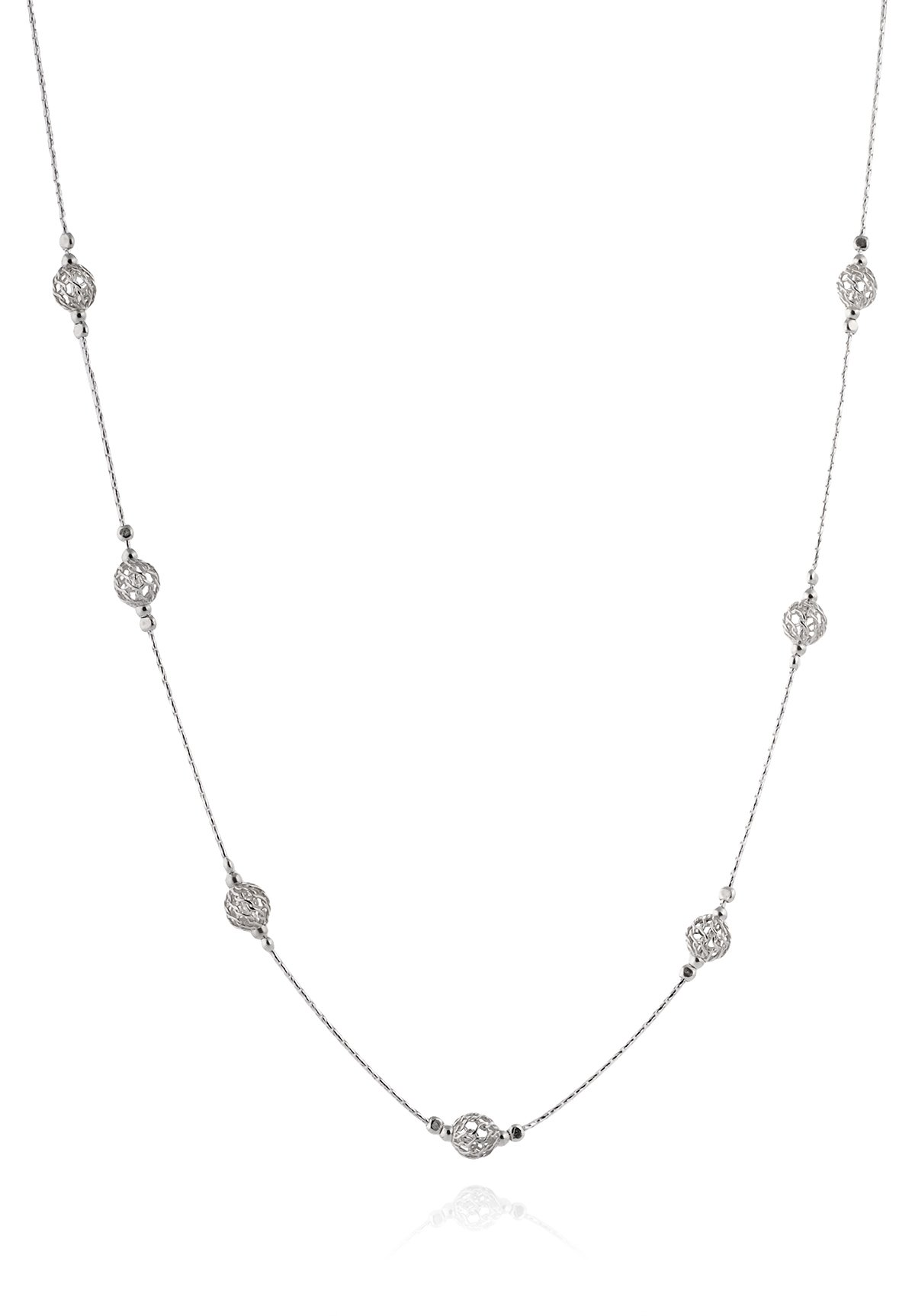 Elegant 925 Sterling Silver Necklace with Wire Mesh Net Bead Stations, 18'' + 4'' Extender