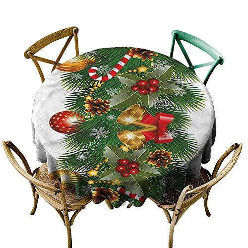 - ScottDecor Round Tablecloth Christmas,Noel Tree Ornaments D54,for Party