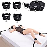 LUCKY YXL Premium Bed Restraint System Kit Medical Grade Strap with Soft Furry Comfortable Wrist and Ankle Cuffs