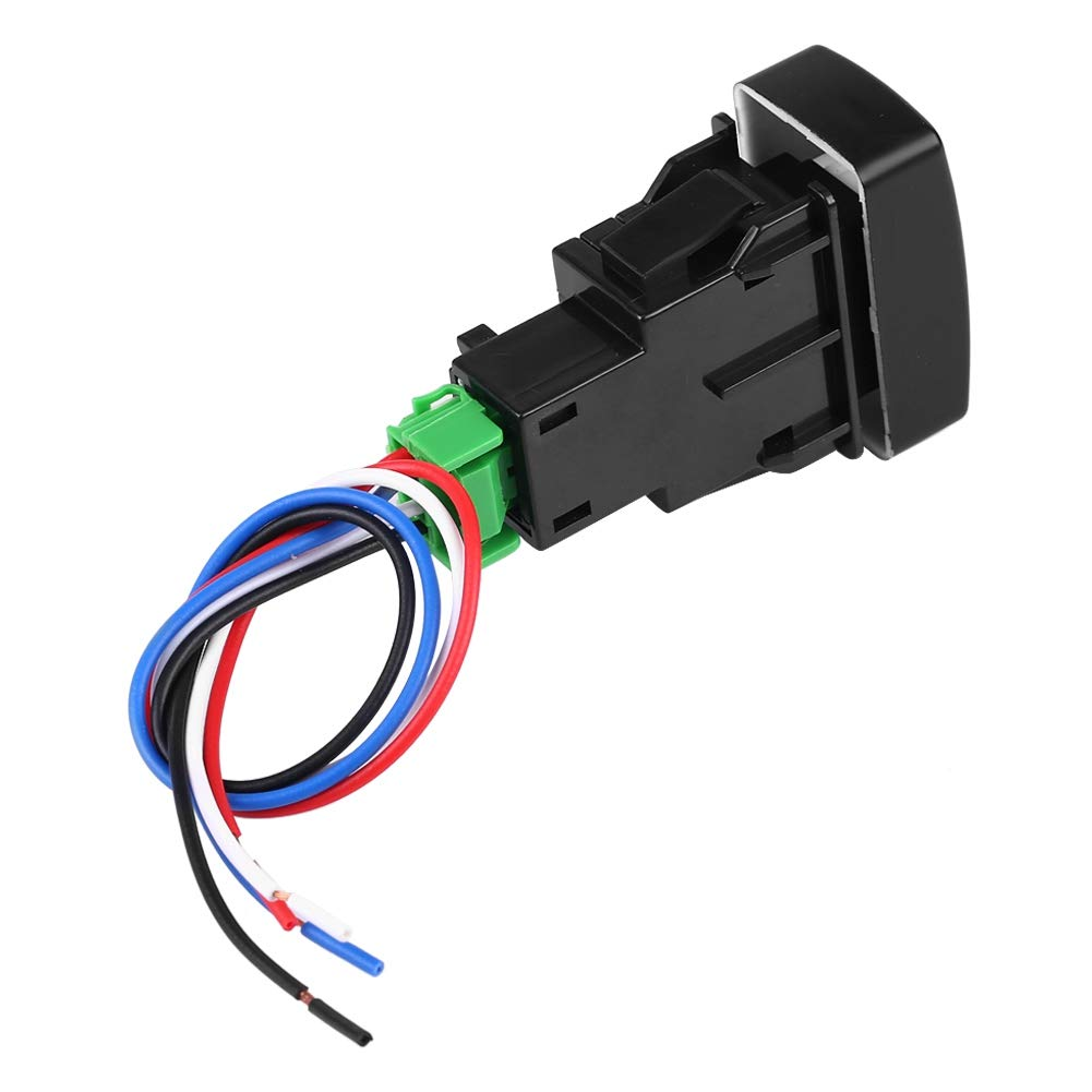 Qiilu Car Fog Light Switch 5 Pin Black Plastic Car Push Button Fog Light Switch for CRV