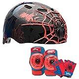 Marvel Spiderman Kids Skate / Bike Helmet Pads & Gloves - 7 Piece Set