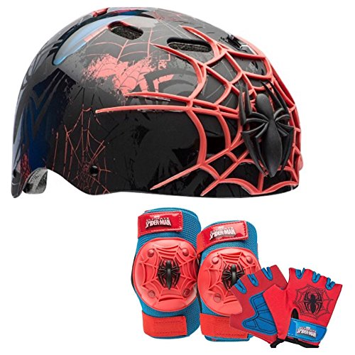 Spider Man Child Helmet (Marvel Spiderman Kids Skate / Bike Helmet Pads & Gloves - 7 Piece Set)