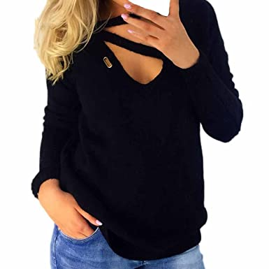 Limsea Womens V-Neck Blouse Long Sleeve Loose Knitted Sweater Jumper Tops( Black c654d25d5