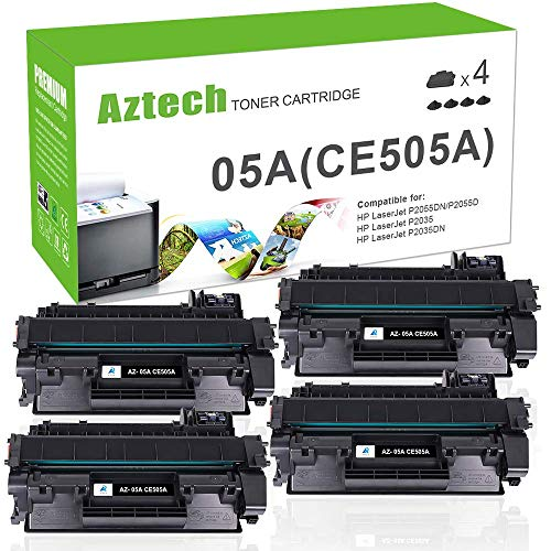 AZTECH Compatible Toner Cartridge Replacement for HP 05A CE505A (Black, 4-Packs) (Hp 05a Printer Cartridge)