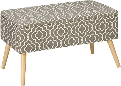 Otto & Ben Mid Century Ottoman with EASY LIFT Top, Upholstered Shoe Ottomans Seats for Entryway and Bedroom, Moroccan Grey (Inch Entryway Bench 30)