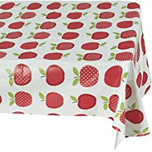 "Ottomanson Vinyl Tablecloth Cute Apple Design Indoor & Outdoor Non-Woven Backing Tablecloth, 55"" X 70"", Multicolor"