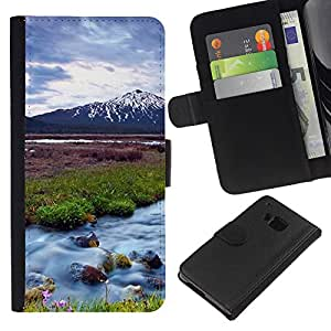JackGot ( Natura Bella Forrest Verde 63 ) HTC One M9 la tarjeta de Crédito Slots PU Funda de cuero Monedero caso cubierta de piel