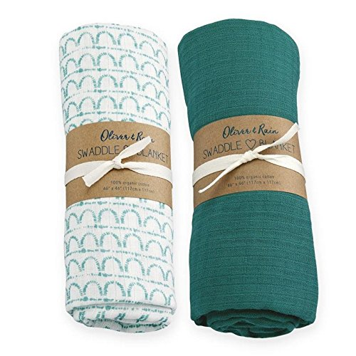 Oliver & Rain Baby Swaddle Sampler - 2-Pack Newborn 100% Organic Cotton Muslin Swaddle Blankets in Solid Dark Teal and Teal Geometric Print
