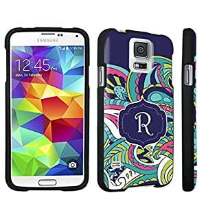 DuroCase ? Samsung Galaxy S5 Hard Case Black - (Mint Flower Monogram R) Kimberly Kurzendoerfer