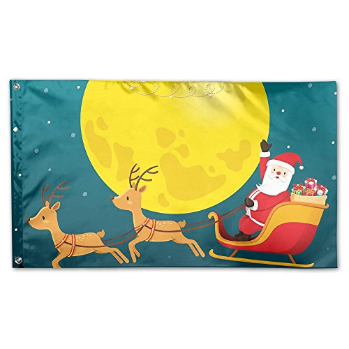 POIUYT Santa Claus Riding On Sleigh Full Moon Flag 3 X 5 Fee
