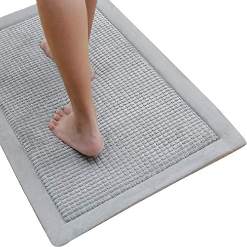 Bathroom Memory Foam Mat, Absorbent Non Slip Shower Rug Carpet, Thick and Quick Drying Microfiber Bath Mat for Floors 20×32 inches,Light Grey