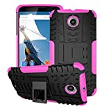 rooCASE Nexus 6 Case - rooCASE [TRAC Armor] Hybrid Nexus 6 2014 Dual Layer Rugged Case Cover with Kickstand rooCASE for Google Nexus 6 Phone 5.9-inch (2014), Magenta
