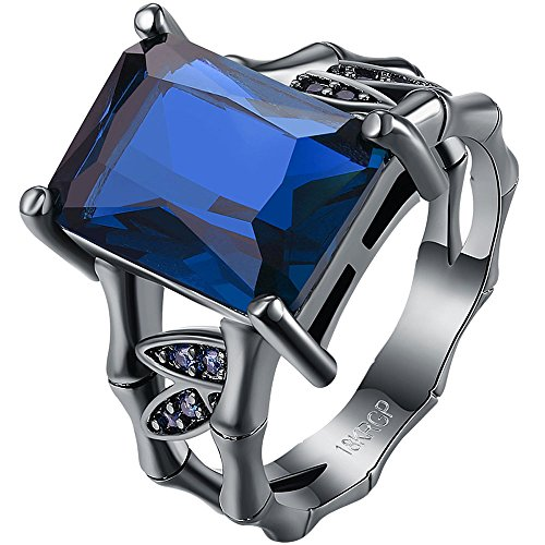 AWLY Womens 18k Black Gold Square Cut Large Stone Sapphire Blue Crystal Bamboo Bone Design Wedding Ring Size 8