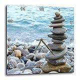 3dRose Zen Stone Tower on Pebble Beach – Peaceful harmony – Stacked Shiny Round ocean Sea Rocks – Balance – Wall Clock, 13 by 13″ (dpp_157790_2)