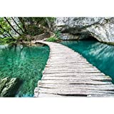 Non-woven photo wallpaper 400x280 cm PREMIUM PLUS Wall Mural Photo Wallpaper Picture - Nature Water Wood Path - no. 268