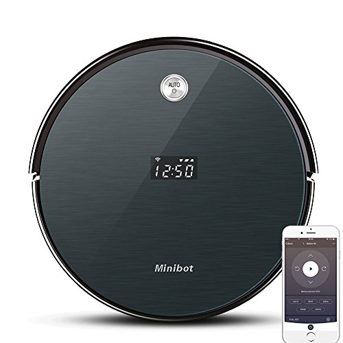Minibot Robot Vacuum Cleaner with Max Power Suction,WiFi Connectivity,App Controls,Self-Charging for Pet Hairs,Hard Surface Floors & Thin Carpets DAR Gray