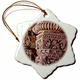 3dRose Danita Delimont - Architecture - India. Column details at the Alai Darwaza complex in New Delhi. - 3 inch Snowflake Porcelain Ornament (orn_276789_1)