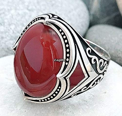 Handmade Red Agate (Handmade New design 925 Sterling Silver Natural Red Agate Stone Men's Woman's RING J12)