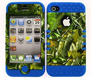 APPLE IPHONE 4G 4S CASE (CAMO LEAVES SNAP + Blue SKIN), HIGH IMPACT DUAL LAYER PROTECTIVE FOR IPHONE 4 4S 4G, HARD & SOFT RUBBER HYBRID SHOCKPROOF BUMPER COVER - LB-WFL028 CELLPHONE [ACCESSORIES N MORE]