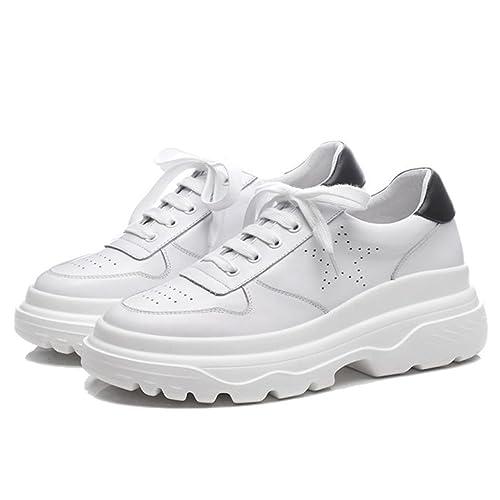 GAOLIXIA Zapatillas Blancas de Mujer Zapatillas Informales Planas Plataforma Invisible de Heightening Zapatillas Deportivas de Deporte Zapatos para Caminar ...