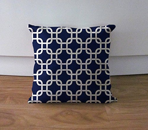 Navy blue geometric pillow cover Chainlink cushion cover couch
