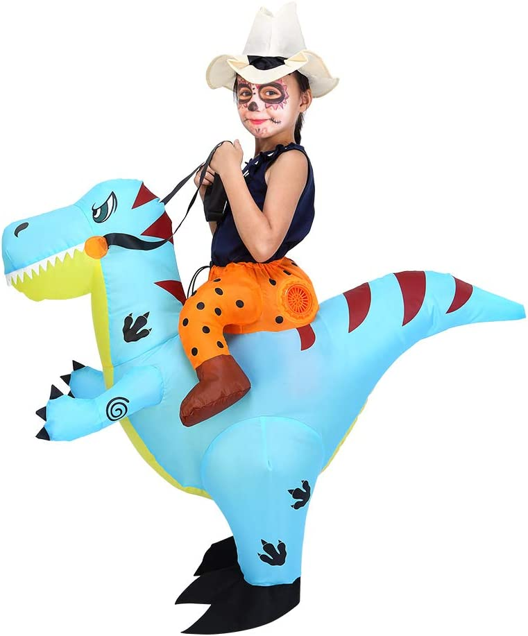 ThinkMax Traje Inflable Dinosaurio para niños Disfraz de Halloween para Fiesta de Cosplay