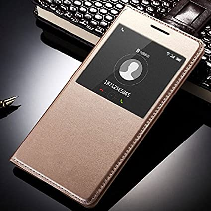 newest collection dcc62 bb187 SmartLike Leather Flip Cover for Oppo A57 Gold: Amazon.in: Electronics