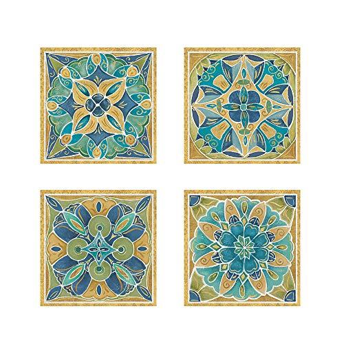 Free Bird Mexican Tiles by Daphne Brissonnet, 4 Piece Art Print Set, 12 X 12 Inches Each, Pattern Art