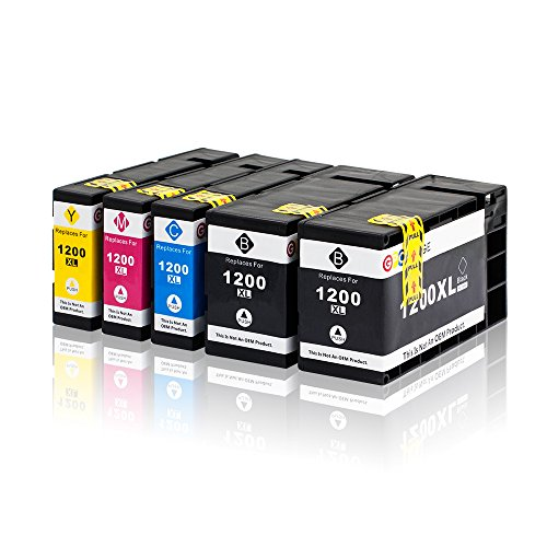 GPC Image 1200XL 5 Pack Compatible Ink Cartridge Replacement for Canon PGI-1200XL PGI-1200 XL for Canon MAXIFY MB2720 MB2320 MB2020 MB2050 MB2350 Printer (2 Black, 1 Cyan, 1 Magenta, 1 Yellow)