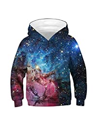 FEOYA Teen Boys Girls Galaxy Hoodies 3D Print Graphic Sweatshirts