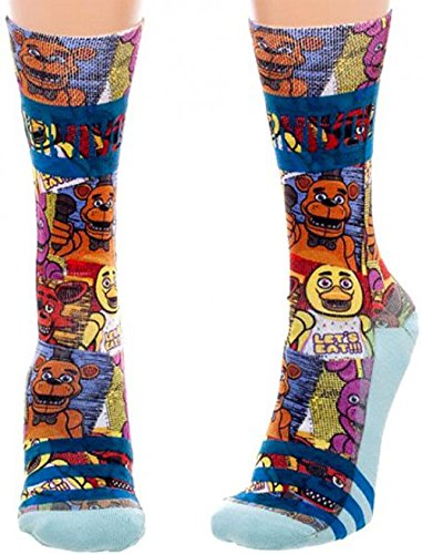 Five Nights at Freddy's Juniors Sublimated Crew Socks , Multi , One Size (Five Nights At Freddys Cool Math Games)