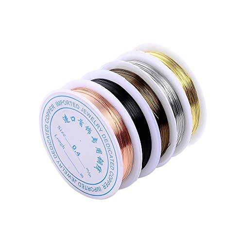 5 Rolls 5 Colors 55Yd 26Gauge Uncoated Copper Wire Tarnish Resistant Pure Dead Soft Copper Wire Jewelry Beading Wire Roll for Crafts Beading Jewelry Making (Wire Wrapping Beads)