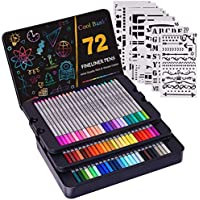 72-Count Cool Bank Fineliner Fine Tip with 20-Piece Journal Stencils