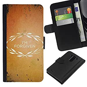EJOY---La carpeta del tirón la caja de cuero de alta calidad de la PU Caso protector / LG G3 / --BIBLIA que me perdonan