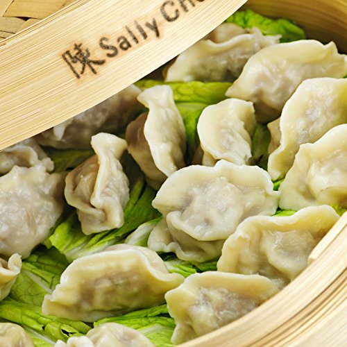 Bamboo Oriental Gyoza Steamer 10 Inch with BONUS two Pairs Chopsticks, Premium Chinese Food Steaming Basket, 2 Tier for Vegetables and More by Sally Chen by Sally Chen (Image #4)
