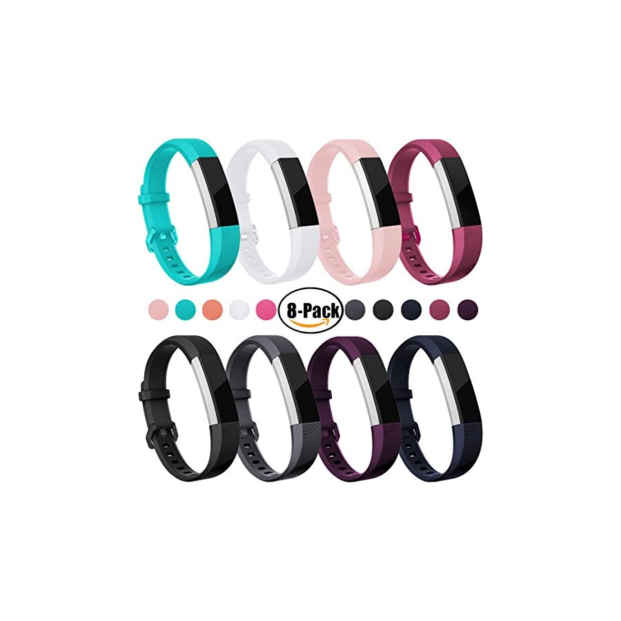Maledan Bands Compatible with Fitbit Alta/Alta HR and Fitbit Ace, Classic Replacement Accessories Sport Wristband Band for Fitbit Alta HR/Alta/Ace, 8 Pack, Women Men Kids